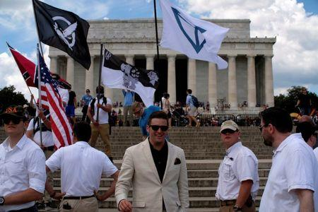 """Richard B. Spencer approaches to speak to self-proclaimed White Nationalists and members of the """"Alt-Right"""" during what they described as a """"Freedom of Speech"""" rally at the Lincoln Memorial in Washington, U.S. June 25, 2017. REUTERS/James Lawler Duggan"""