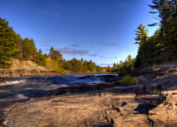 <p>View of the Menominee River, which runs through Wisconsin and Michigan. (Photo: Tom Young) </p>