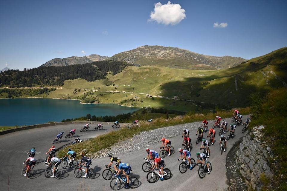 The pack rides during the 18th stage of the 107th edition of the Tour de France cycling race 168 km between Meribel and La Roche sur Foron on September 17 2020 Photo by Marco BERTORELLO  AFP Photo by MARCO BERTORELLOAFP via Getty Images