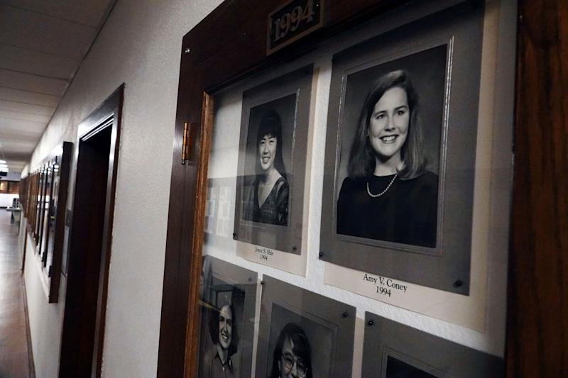 Photos of Amy Coney Barrett, a potential Supreme Court nominee, hang in the Hall of Fame of her alma mater Rhodes College in Memphis, Tennessee. (Photo: Karen Pulfer Focht / Reuters)