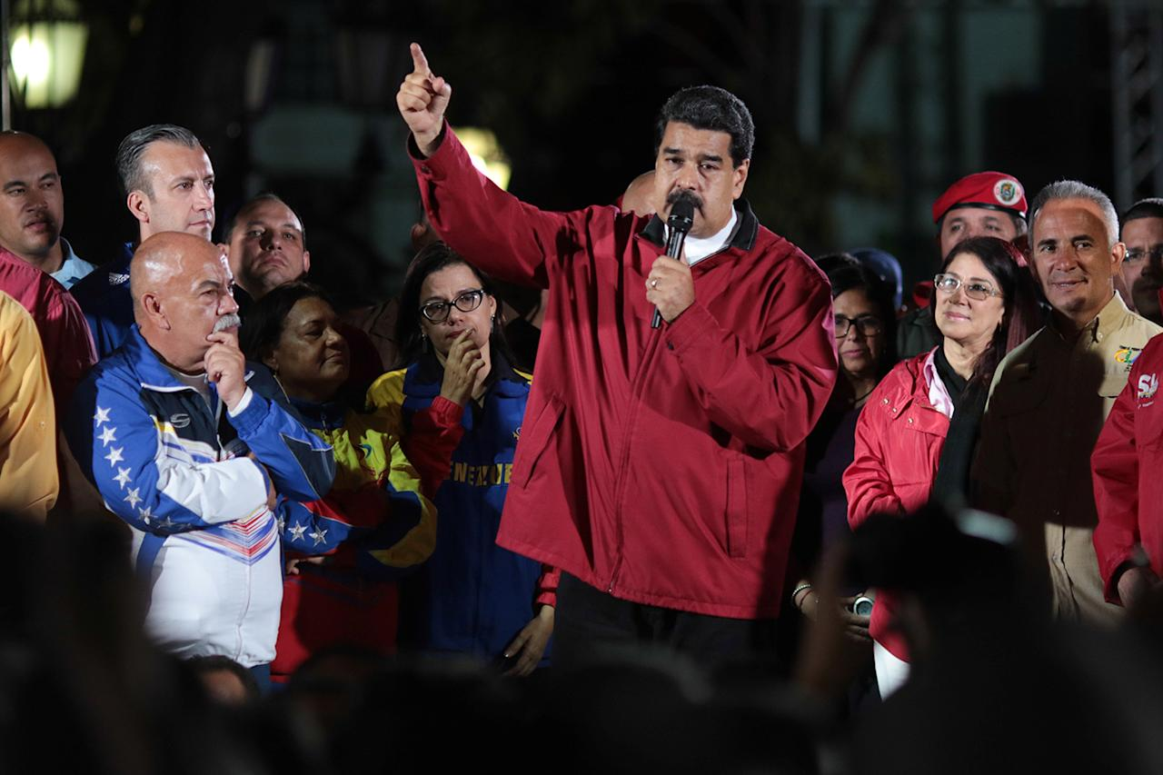 <p>Venezuela's President Nicolas Maduro (C) speaks during a meeting with supporters in Caracas, Venezuela July 30, 2017. (Miraflores Palace/Reuters) </p>