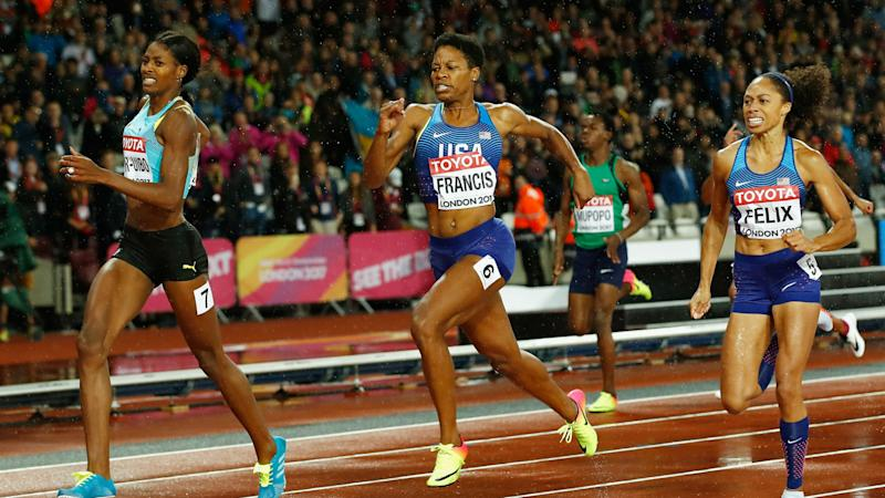 Francis shocks Felix, Miller-Uibo for world 400m gold