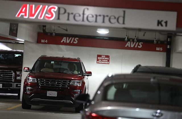 Cars are parked at an Avis rental car office on August 8, 2017 in San Francisco, California. (Photo by Justin Sullivan/Getty Images)