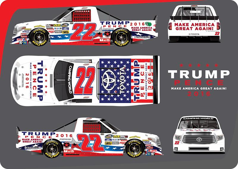 No. 22 truck will have a Trump-Pence paint scheme for ...