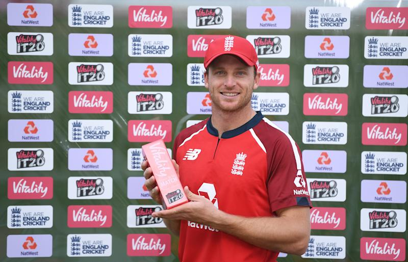 Jos Buttler of England poses after being named man of the match during the 2nd Vitality International Twenty20 match.
