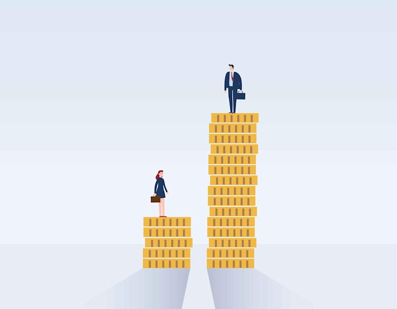 Gender gap and inequality in salary, pay vector concept. Graphic: Getty