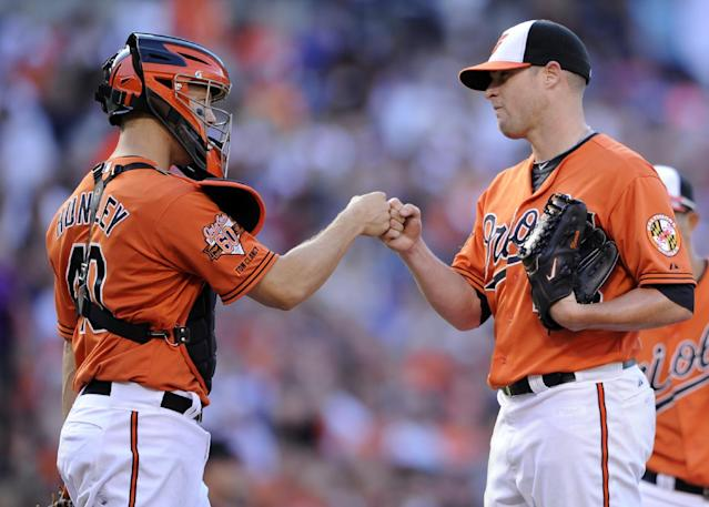 Baltimore Orioles starting pitcher Bud Norris, right, gets a fist bump from catcher Nick Hundley just before Norris was pulled from the baseball game against the Toronto Blue Jays during the seventh inning Saturday, June 14, 2014, in Baltimore. The Orioles won 3-2. (AP Photo/Nick Wass)