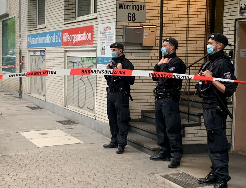Police secures a building after Germany banned the Islamic organisation Ansaar International in Dusseldorf