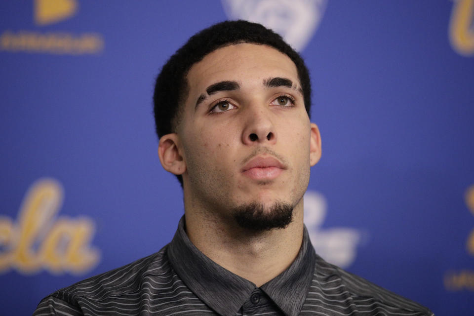 LiAngelo Ball makes fun of himself in a new Foot Locker commercial. (AP Photo)