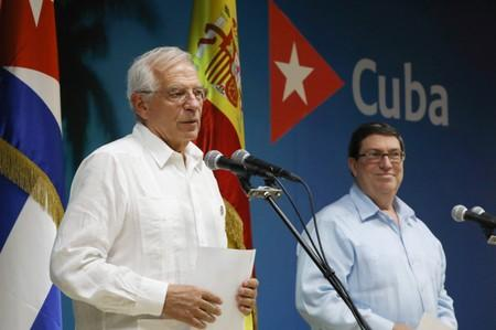 Spanish Foreign Minister Josep Borrell speaks beside his Cuban counterpart Bruno Rodriguez during a news conference in Havana