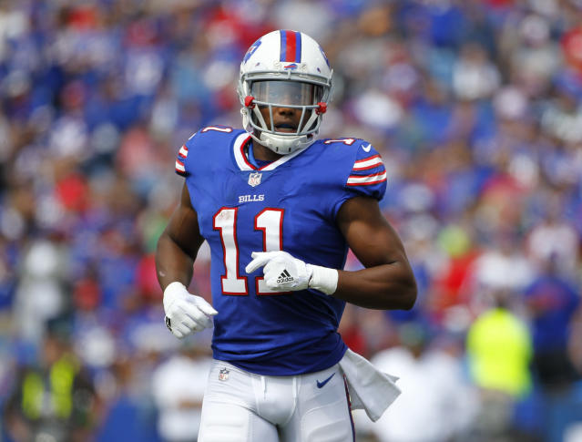 FILE - In this Sept. 10, 2017, file photo, Buffalo Bills' Zay Jones runs on the field during the first half of the team's NFL football game against the New York Jets in Orchard Park, N.Y. Jones has been arrested in Los Angeles following a naked, bloody argument with his brother, Vikings receiver Cayleb Jones. A police spokesman says the player, whose legal name is Isaiah Avery Jones, was arrested Monday night, March 19, 2018, after officers responded to a disturbance. (AP Photo/Jeffrey T. Barnes, File)