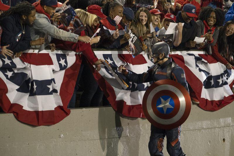Wyatt Russell as Captain America in The Falcon And The Winter Soldier