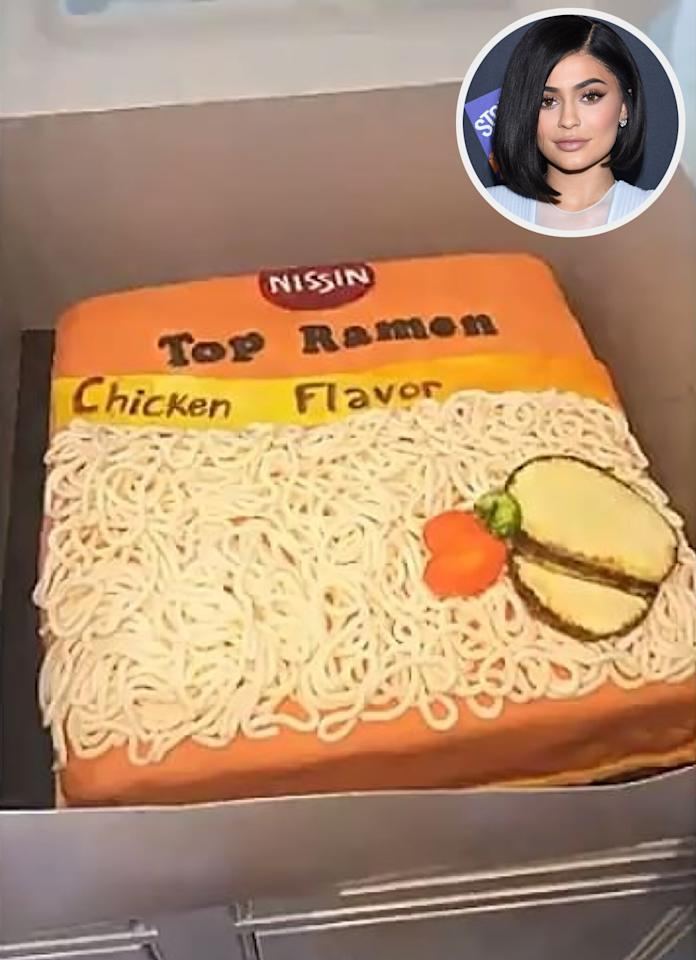 """The reality star's <a href=""""http://site.people.com/food/kylie-jenner-ramen-noodles-snapchat/"""">affinity for ramen noodles</a> is well documented, so a cake rendition of the chicken flavor pack was obviously in order for her <a href=""""http://www.people.com/article/kylie-jenner-birthday-tributes-family"""">19th birthday festivities</a>. """"This is the coolest thing I've ever seen,"""" she said in a <a href=""""https://www.instagram.com/p/BJE0bAygiqp/?taken-by=kylizzlesnapchats"""">Snapchat video</a>."""