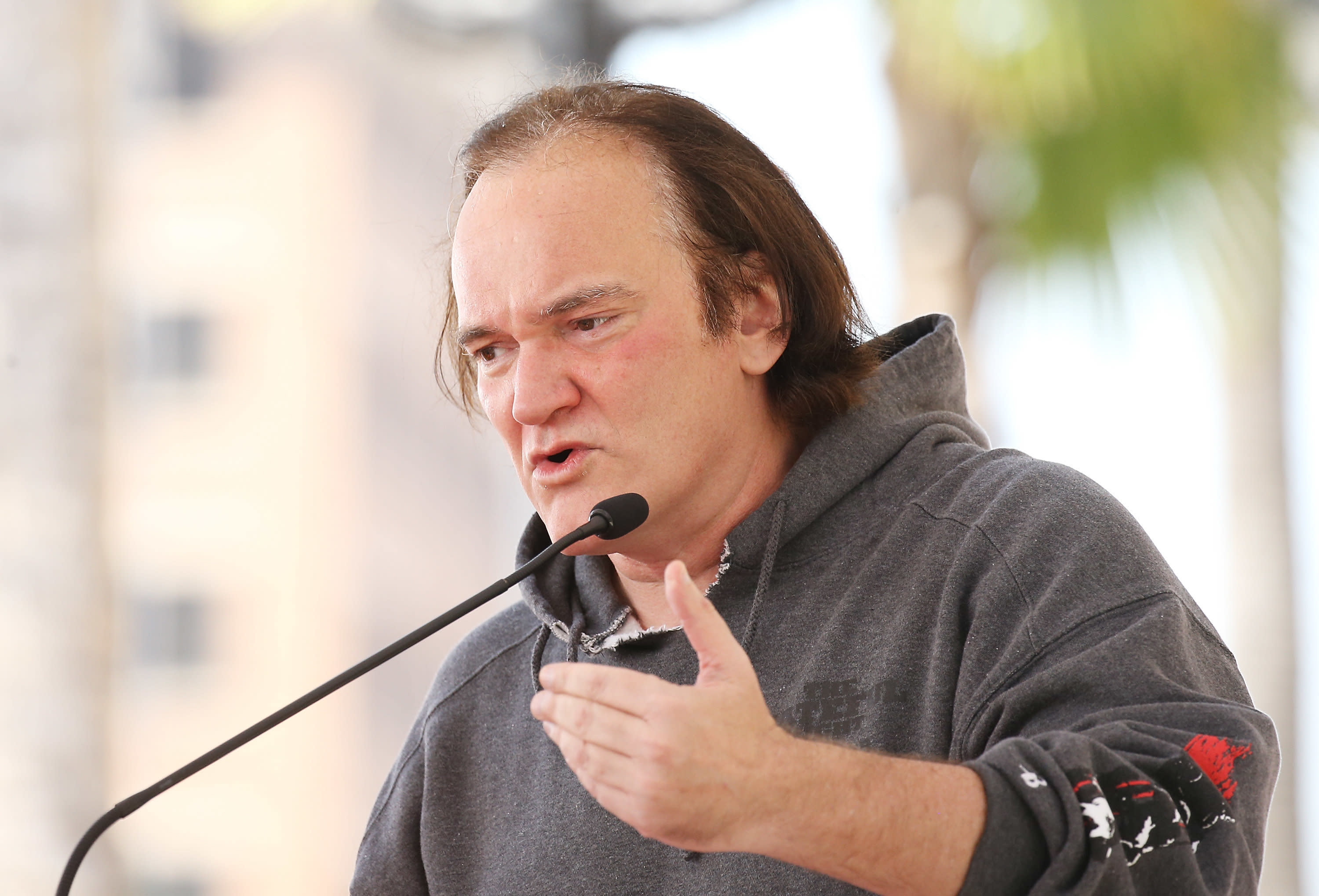 Quentin Tarantino, pictured in May 2017, is getting heat for remarks he made in an old interview with Howard Stern. (Michael Tran via Getty Images)