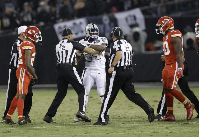 Oakland Raiders running back Marshawn Lynch made contact with back judge Greg Steed during the first half of last Thursday's game against the Chiefs. (AP)