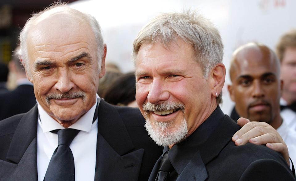 "Sean Connery played Harrison Ford's father in ""Indiana Jones and the Last Crusade."" The two posed together in 2007."