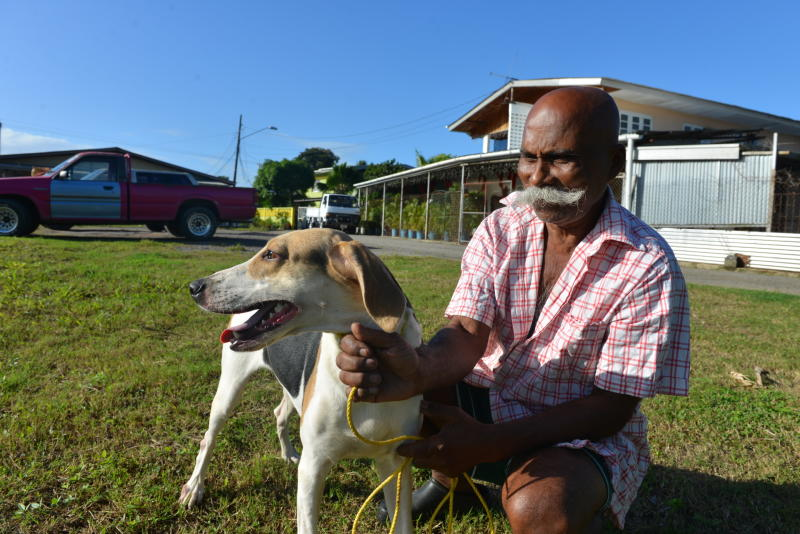 In this Dec. 31, 2013 photo, 64-year-old hunter Francis Guelmo poses for a photo with one of his hunting hounds on the outskirts of Chaguanas, Trinidad. The twin-island country of Trinidad and Tobago, at least on paper, has transformed the southernmost island nation of the Caribbean into a no-trapping, no-hunting zone for about two years to give overexploited game animals some breathing room and to conduct wildlife surveys. Some 13,000 licensed hunters and their trained hounds are now forbidden to hunt on state lands. Hunters allege that police are often the biggest poachers, with some stations regularly hosting end-of-the-week cookouts with freshly caught howler monkey or wild hog. (AP Photo/David McFadden)