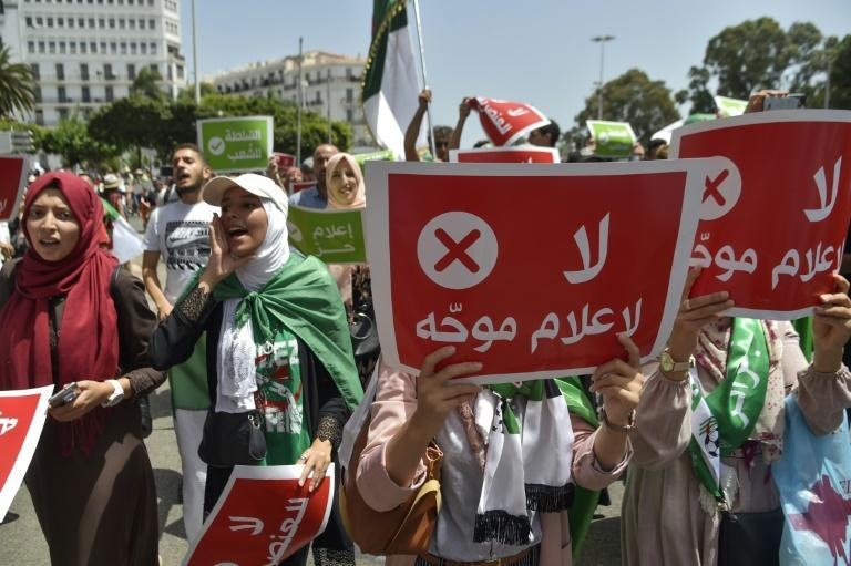 During a Hirak demonstration last year, protesters carried placards saying in Arabic 'No to biased media'