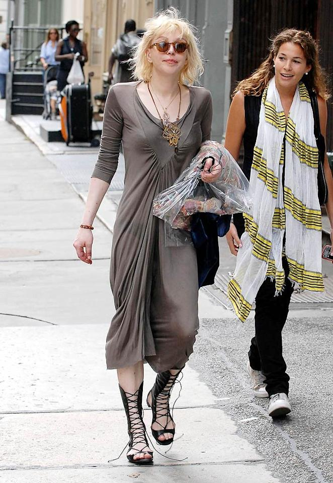 "Courtney Love's dress ain't half bad; her untied gladiator sandals and crazy coif, however, are both hot messes. Takeover Media/<a href=""http://www.pacificcoastnews.com/"" target=""new"">PacificCoastNews.com</a> - August 27, 2009"