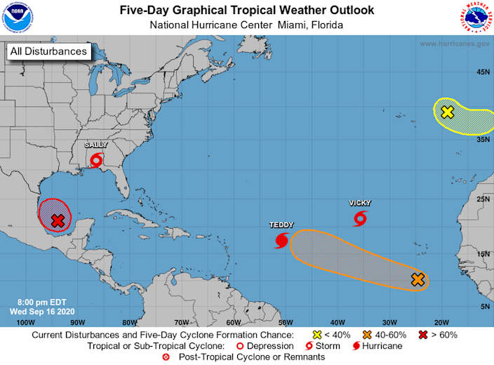 The National Hurricane Center is monitoring four named storms: Paulette, Sally, Teddy and Vicky and three disturbances