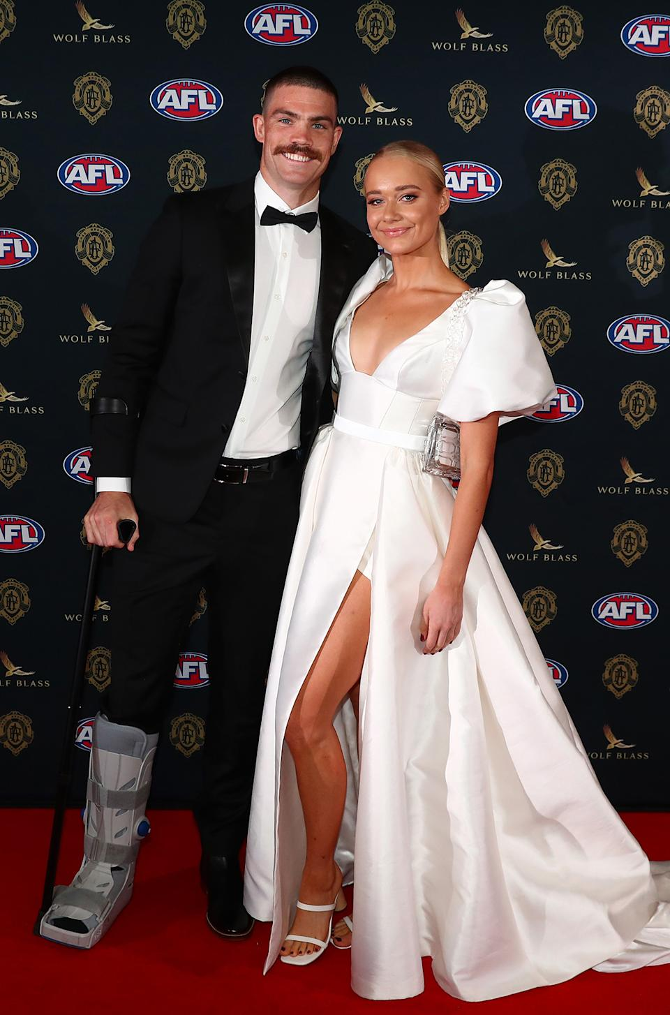 Sam Collins and Georgia Mitchell at the Brownlow Medal 2021