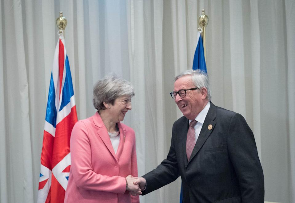 Prime minister Theresa May with president of the European Commission Jean-Claude Juncker (Picture: PA)