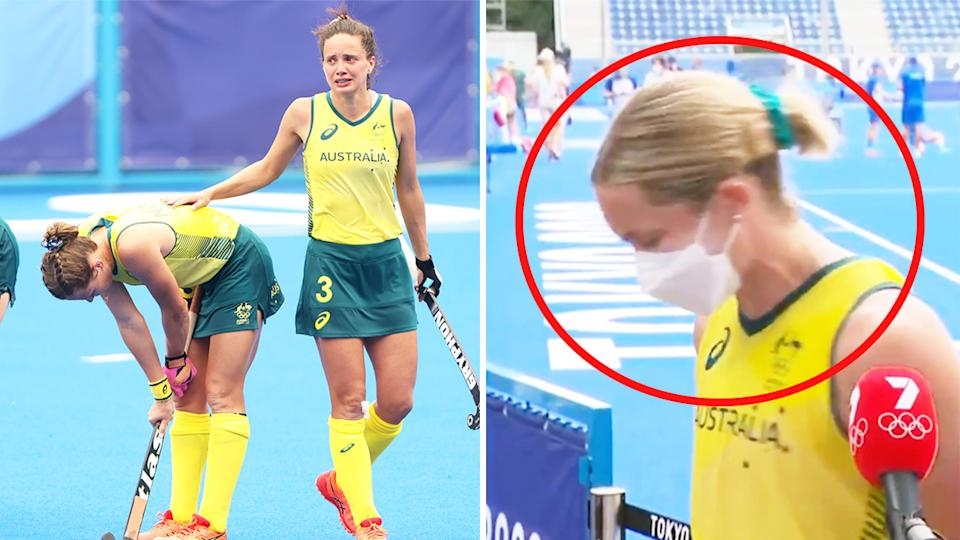 Edwina Bone (pictured right) choked up in her interview after the Hockeyroos (pictured left) were shocked in their quarter-final match against India in Tokyo.