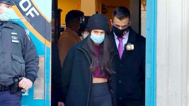 PHOTO: Miya Ponsetto, 22, is walked from a precinct in New York City as she faces multiple charges for a Manhattan hotel incident during which she is seen on video  seen on video tackling a Black teenager whom she falsely accused of stealing her phone. (WABC7)