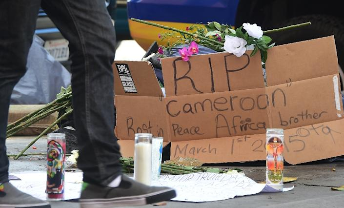 A makeshift memorial for a homeless man, known by the name of Africa, who was shot and killed by police, on March 2, 2015 in Los Angeles (AFP Photo/Frederic J. Brown)