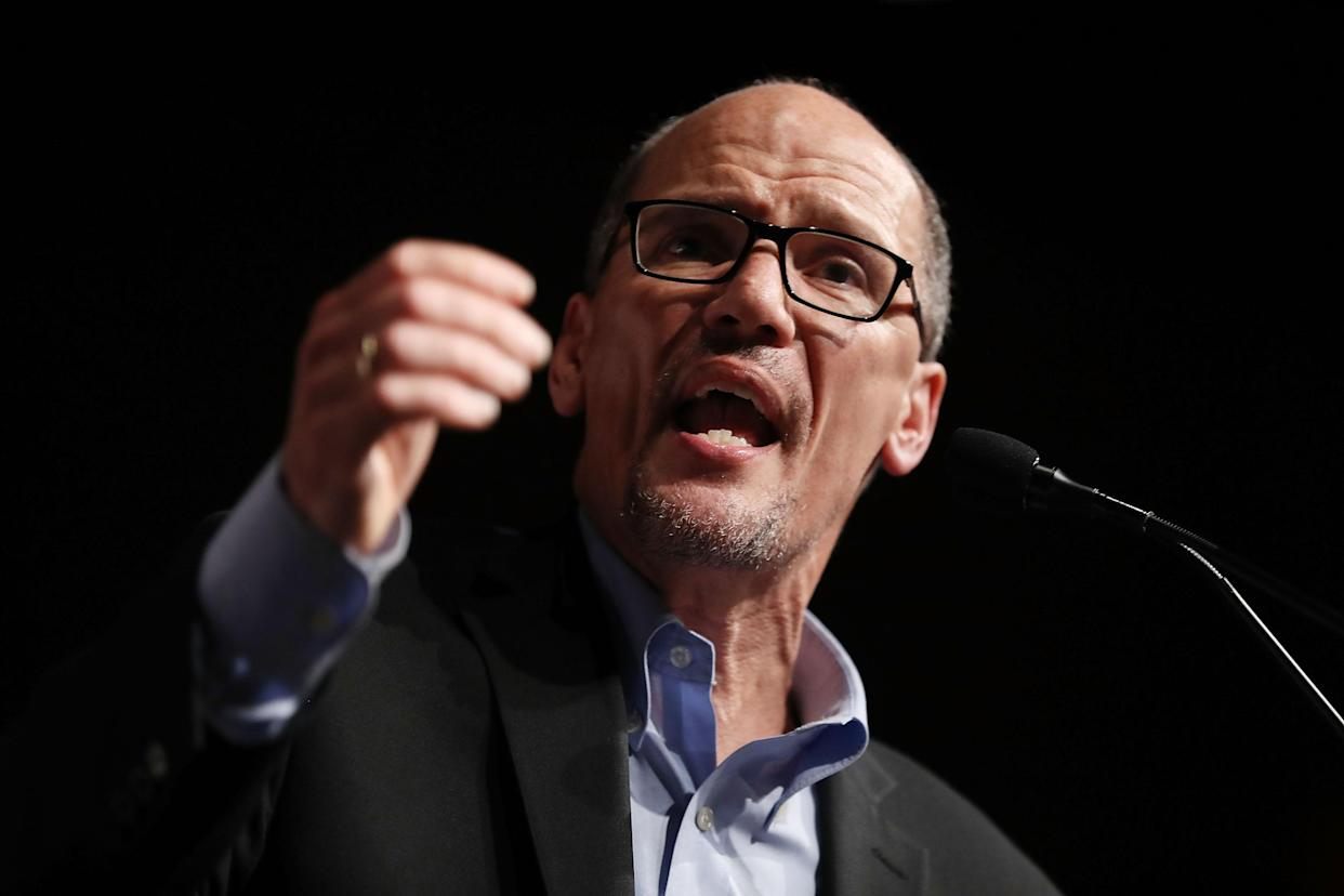 """DNC Chair Tom Perez speaks during a """"Come Together and Fight Back"""" tour in Miami in April. (Photo: Joe Raedle/Getty Images)"""