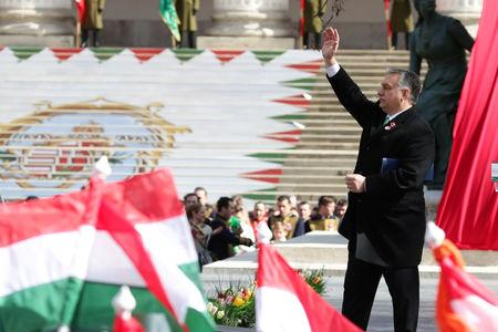 Hungarian Prime Minister Viktor Orban reacts during Hungary's National Day celebrations, which also commemorates the 1848 Hungarian Revolution against the Habsburg monarchy, in Budapest, Hungary, March 15, 2019. REUTERS/Lisi Niesner
