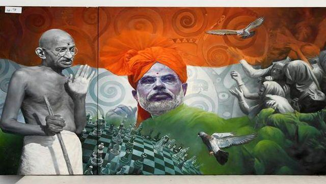 An acrylic painting on two panels of Prime Minister Narendra Modi and Mahatma Gandhi with a tricolour background. This painting is being auctioned for Rs 25 lakh. The proceeds from the e-auction will go towards the Namami Gange Mission, aimed at conserving and rejuvenating the Ganga. Image Courtesy: pmmementos.gov.in