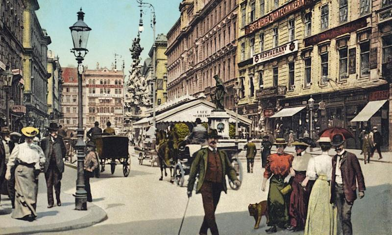 Early postcard of Graben in the centre of Vienna, the setting for Robert Musil's novel The Man Without Qualities.