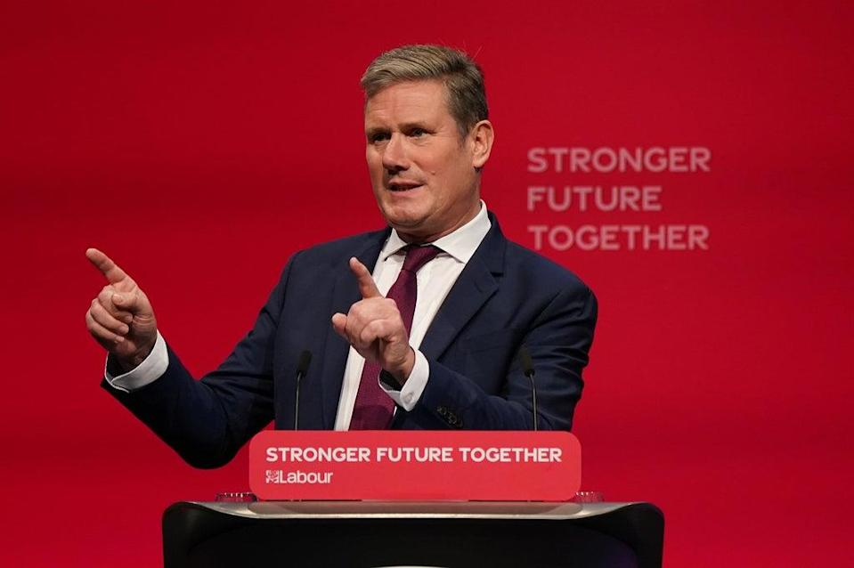 Labour party leader Sir Keir Starmer delivers his keynote speech at the Labour Party conference in Brighton (Andrew Matthews/PA) (PA Wire)