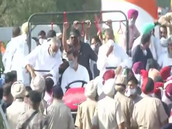 Congress leader Rahul Gandhi during 'Kheti Bachao Yatra' in Punjab on Tuesday (Photo/ANI)