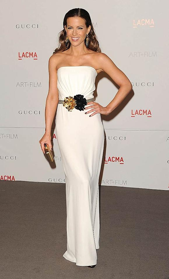 Kate Beckinsale was the epitome of elegance at this year's LACMA-sponsored Art and Film Gala. The brunette beauty perfectly paired her Gucci column gown with a black-and-gold belt and matching earrings. (11/5/11)