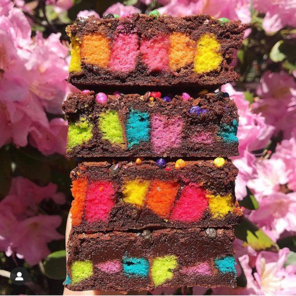 PHOTO: Rainbow cookie brownies from Zola Bakes. (Zola Bakes)