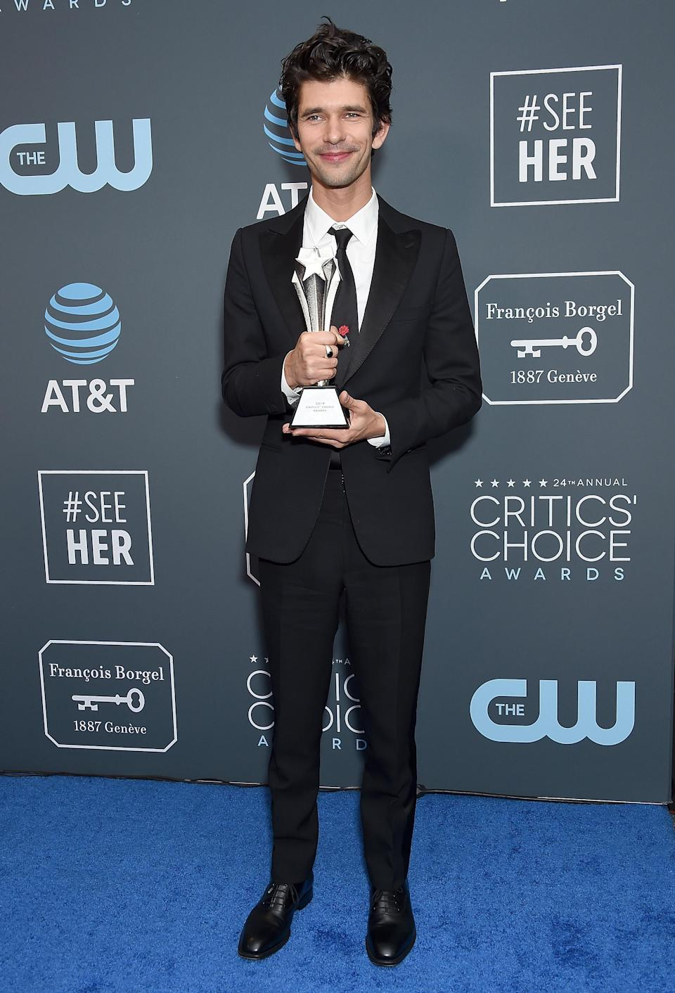 <p>The actor looked suave in a black tux at the Critics' Choice Awards as he collected the award for 'Best Supporting Actor' for his role in 'A Very English Scandal'. <em>[Photo: Getty]</em> </p>
