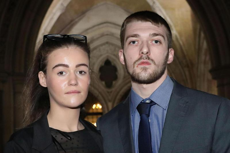 Parents Tom Evans and Kate James (PA)