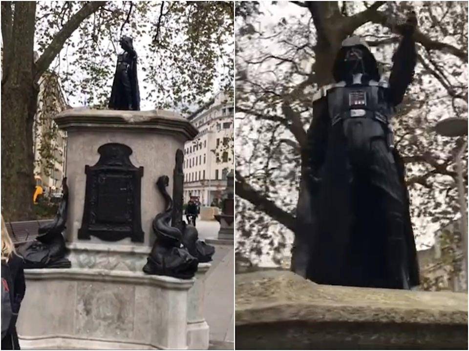 The figure of Darth Vader appeared overnight without explanation (Bristol 24/7 via YouTube)