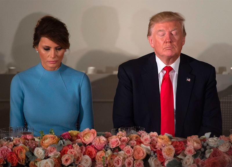 Donald and Melania at the Inaugural Luncheon, at the Capitol.