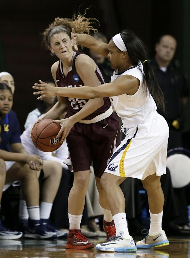 Fordham's Hannah Missry, left, tries to pass the ball as California's Brittany Boyd, right, defends in the first half of a first-round game in the NCAA women's college basketball tournament, Saturday, March 22, 2014, in Waco, Texas. (AP Photo/Tony Gutierrez)
