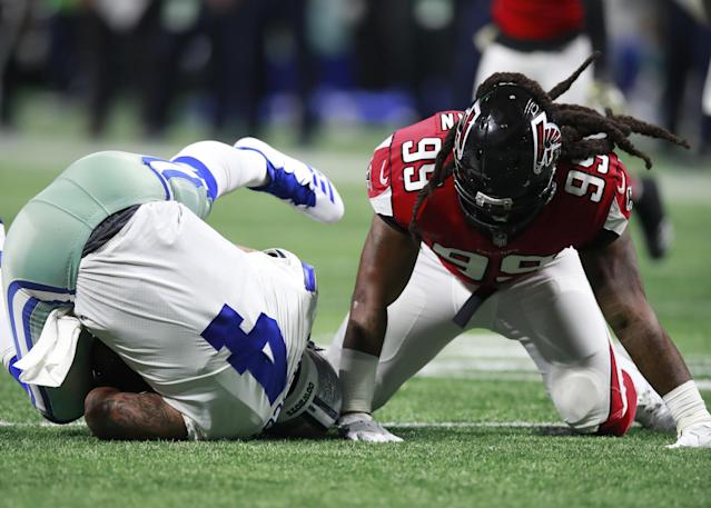 Atlanta Falcons defensive end Adrian Clayborn after one of his six sacks on Cowboys quarterback Dak Prescott. (AP)