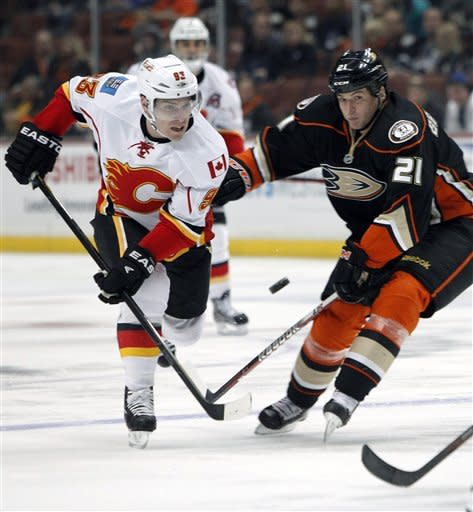Calgary Flames left wing Mike Cammalleri, left, battles Anaheim Ducks defenseman Sheldon Brookbank (21) for the puck in the first period of an NHL hockey game in Anaheim, Calif., on Friday, March 2, 2012. (AP Photo/Christine Cotter)