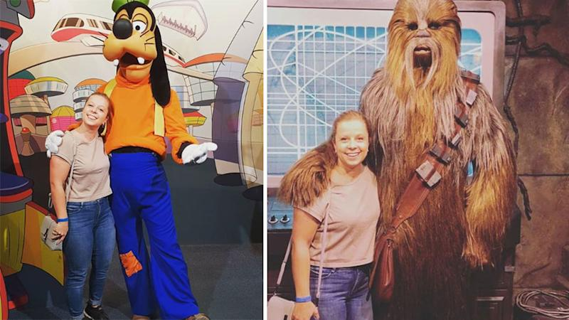 Disney world character meeting with Goofey and Chewbacca