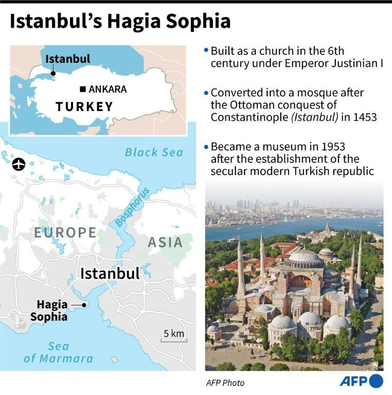 Factfile on the Byzantine masterpiece of Hagia Sophia in Istanbul (AFP Photo/Robin BJALON)