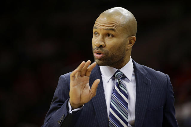"<a class=""link rapid-noclick-resp"" href=""/mlb/players/10477/"" data-ylk=""slk:Derek Fisher"">Derek Fisher</a> is reportedly the new head coach of the <a class=""link rapid-noclick-resp"" href=""/wnba/teams/los"" data-ylk=""slk:Los Angeles Sparks"">Los Angeles Sparks</a>. (AP)"