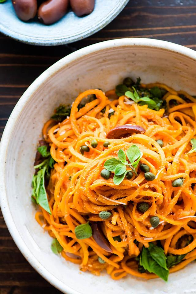 """<p>Spiral your sweet potatoes to whip up this creamy, delicious dish. </p><p><strong>Get the recipe at <a rel=""""nofollow"""" href=""""http://www.cottercrunch.com/italian-sweet-potato-spaghetti-bowls/"""">Cotter Crunch</a>. </strong></p><p><strong>Tools you'll need:</strong> <em>$30, Spiralizer 5-Blade Vegetable Slicer, </em><a rel=""""nofollow"""" href=""""https://www.amazon.com/Spiralizer-Vegetable-Strongest-Heaviest-Gluten-Free/dp/B00GRIR87M?tag=syndication-20""""><em>amazon.com</em></a><span></span><br></p>"""