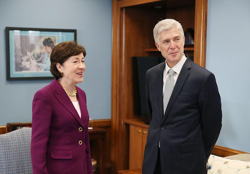 Collins with then-Supreme Court nominee Neil Gorsuch in 2017. (Mark Wilson via Getty Images)