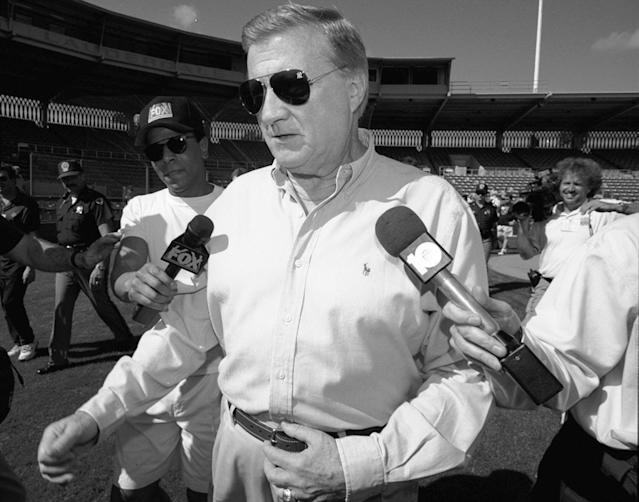 Yankees owner George Steinbrenner was banned from day-to-day operations after a scandal in 1990. (Photo by Linda Cataffo/NY Daily News Archive via Getty Images)